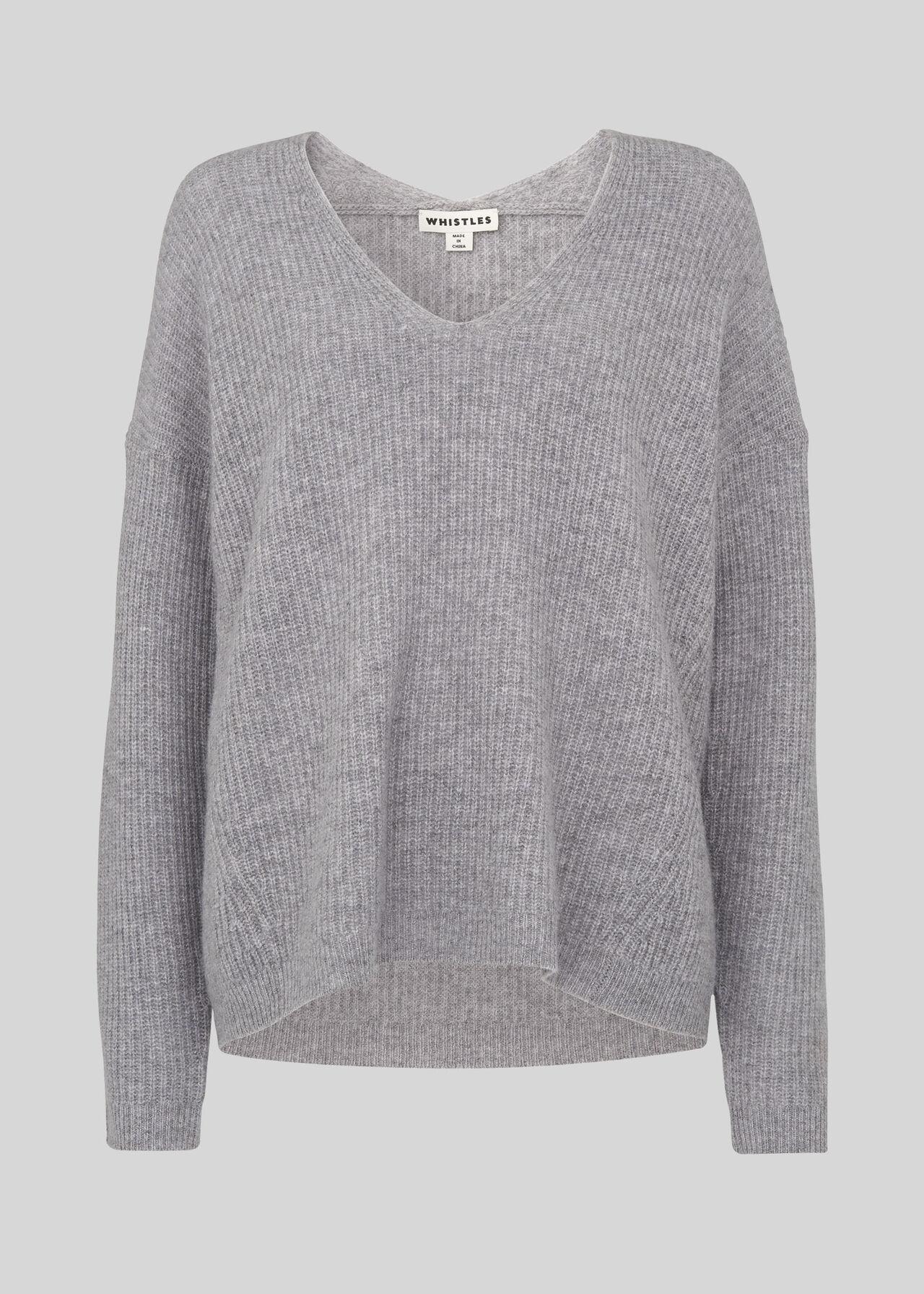 Grey V Neck Rib Wool Sweater Whistles Whistles
