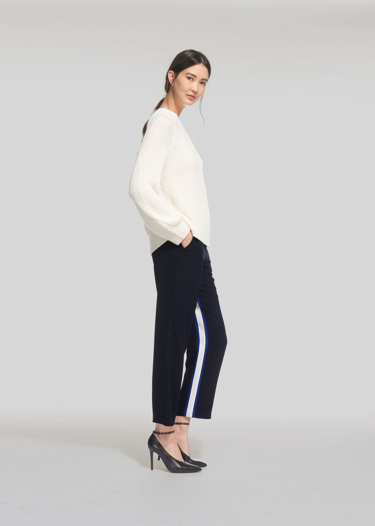 Stripe Insert Crepe Trouser Navy