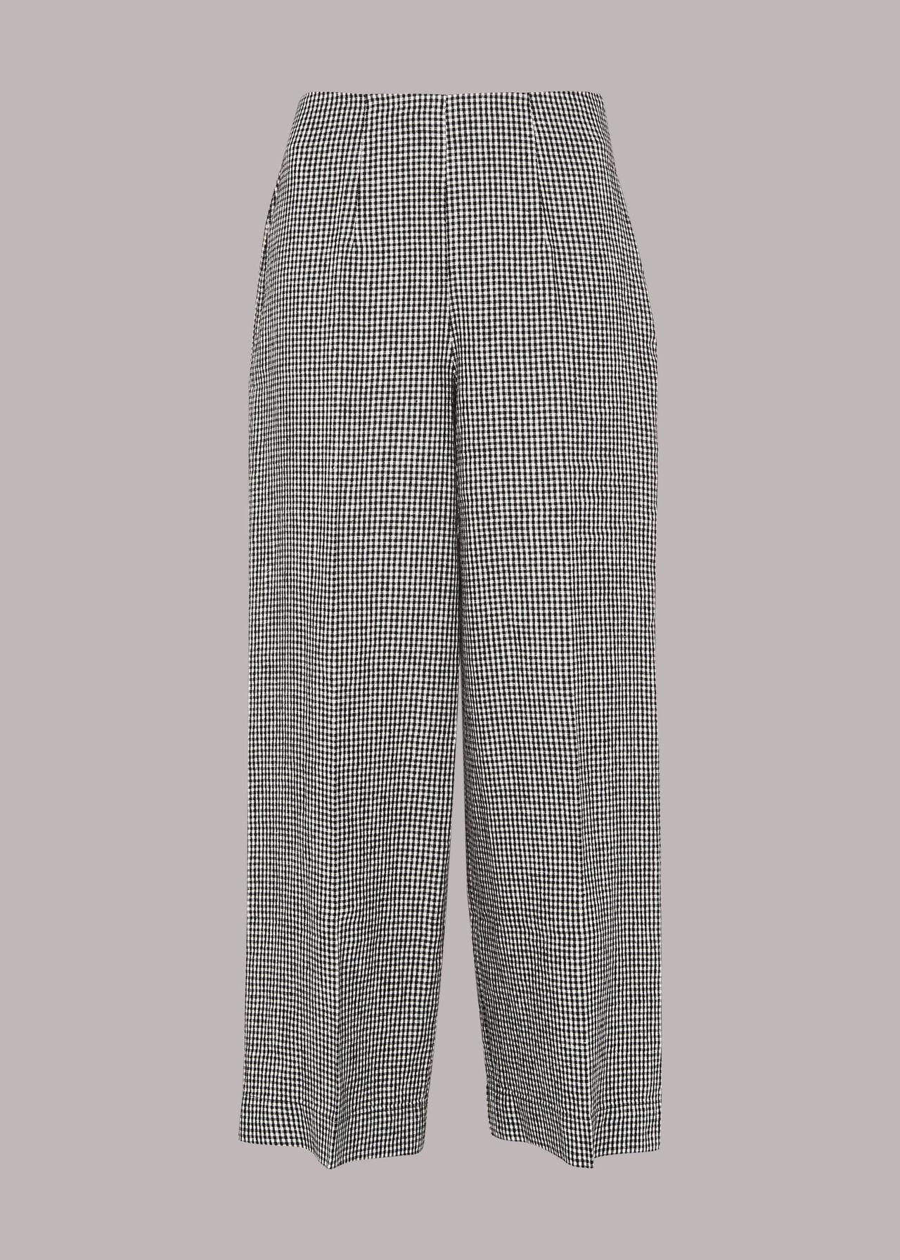 Checked Linen Crop Trouser