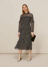 Macy Sketched Floral Dress Black/Multi