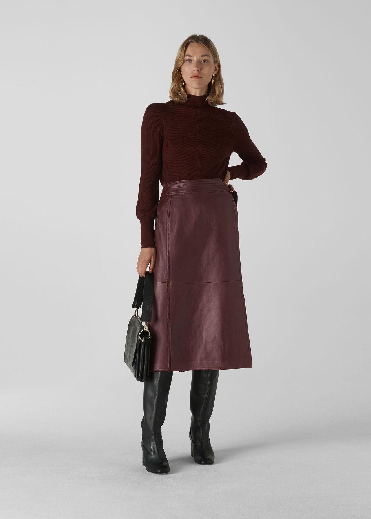 Selina Leather Wrap Skirt Burgundy