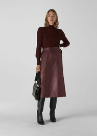 Selina Leather Wrap Skirt Burgundy