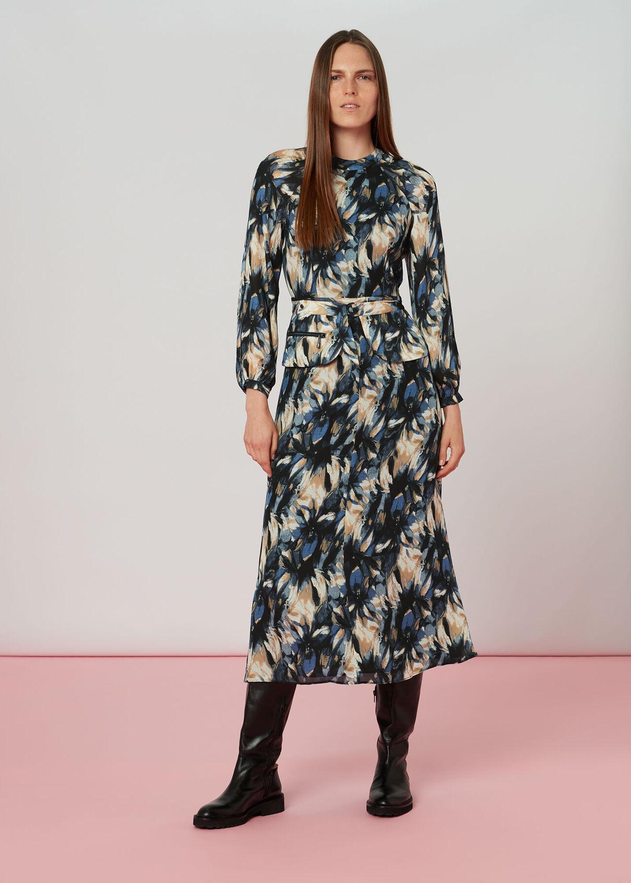 Storm Floral Silk Belted Dress