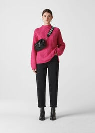 Oversized Chunky Cable Sweater Pink