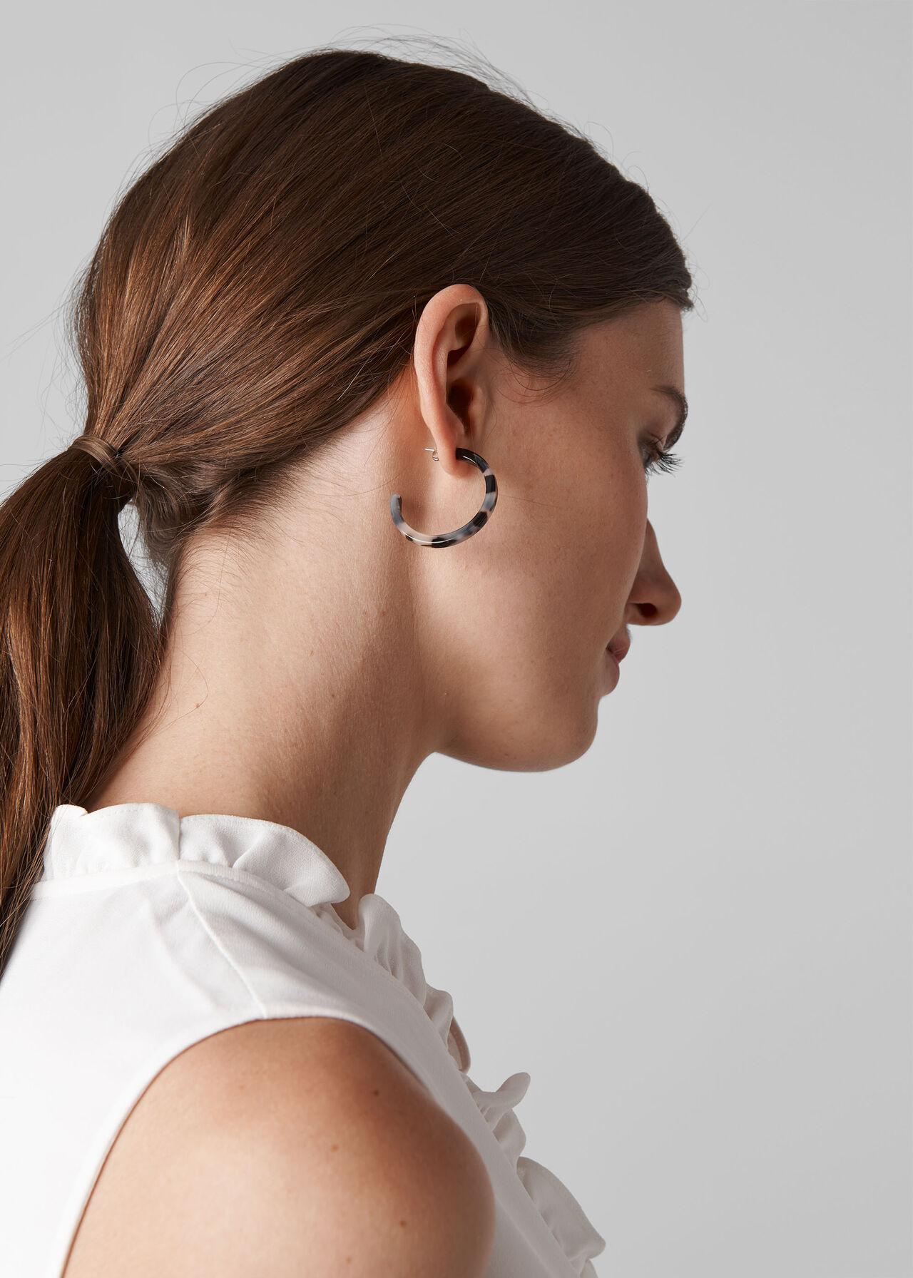 Tort Resin Hoop Earrings Cream/Multi