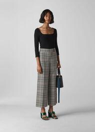 Cara Check Wide Leg Trouser Grey/Multi