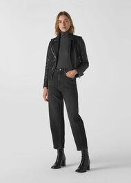 Agnes Pocket Leather Biker Black