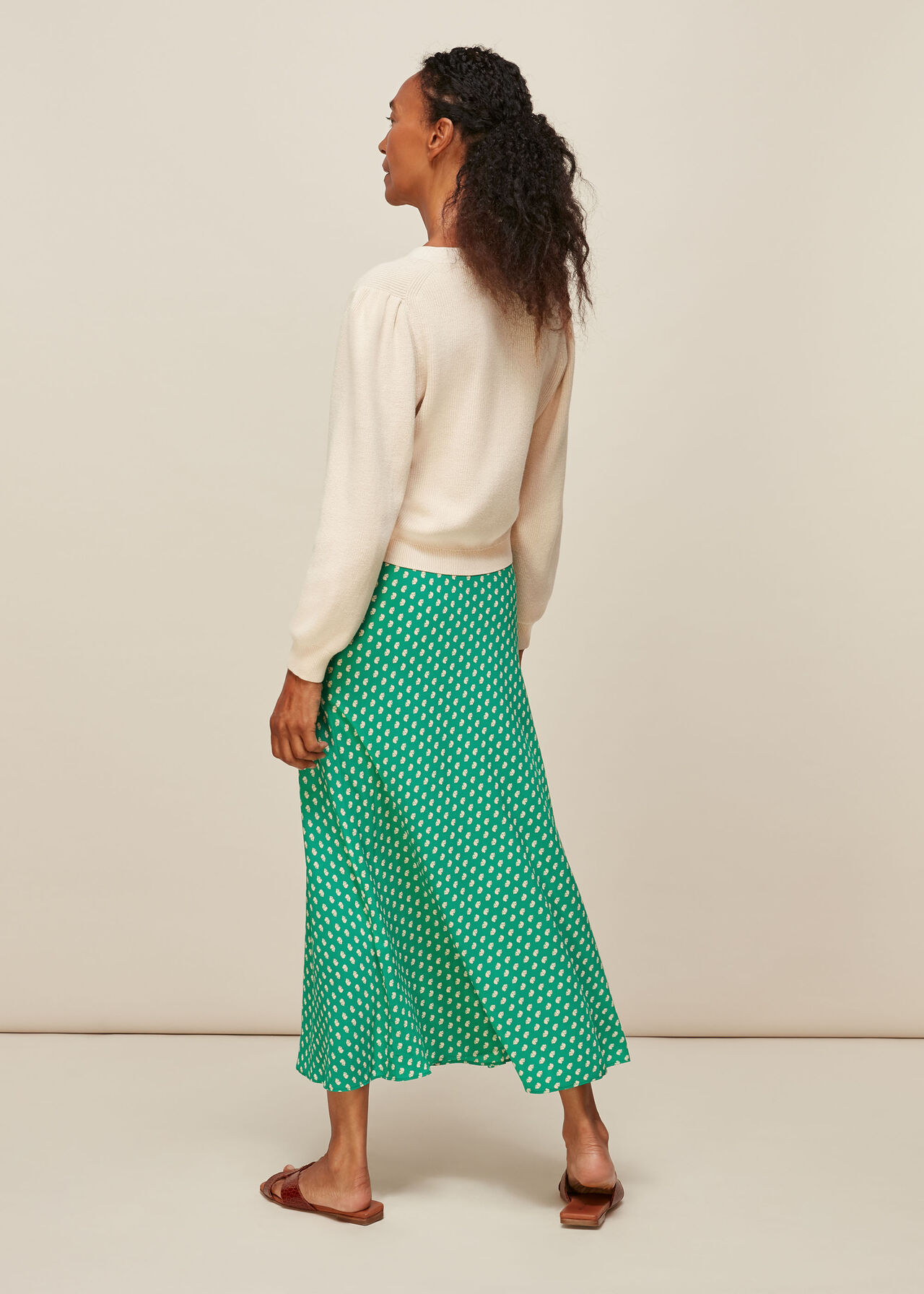 Elephant Print Bias Cut Skirt Green/Multi