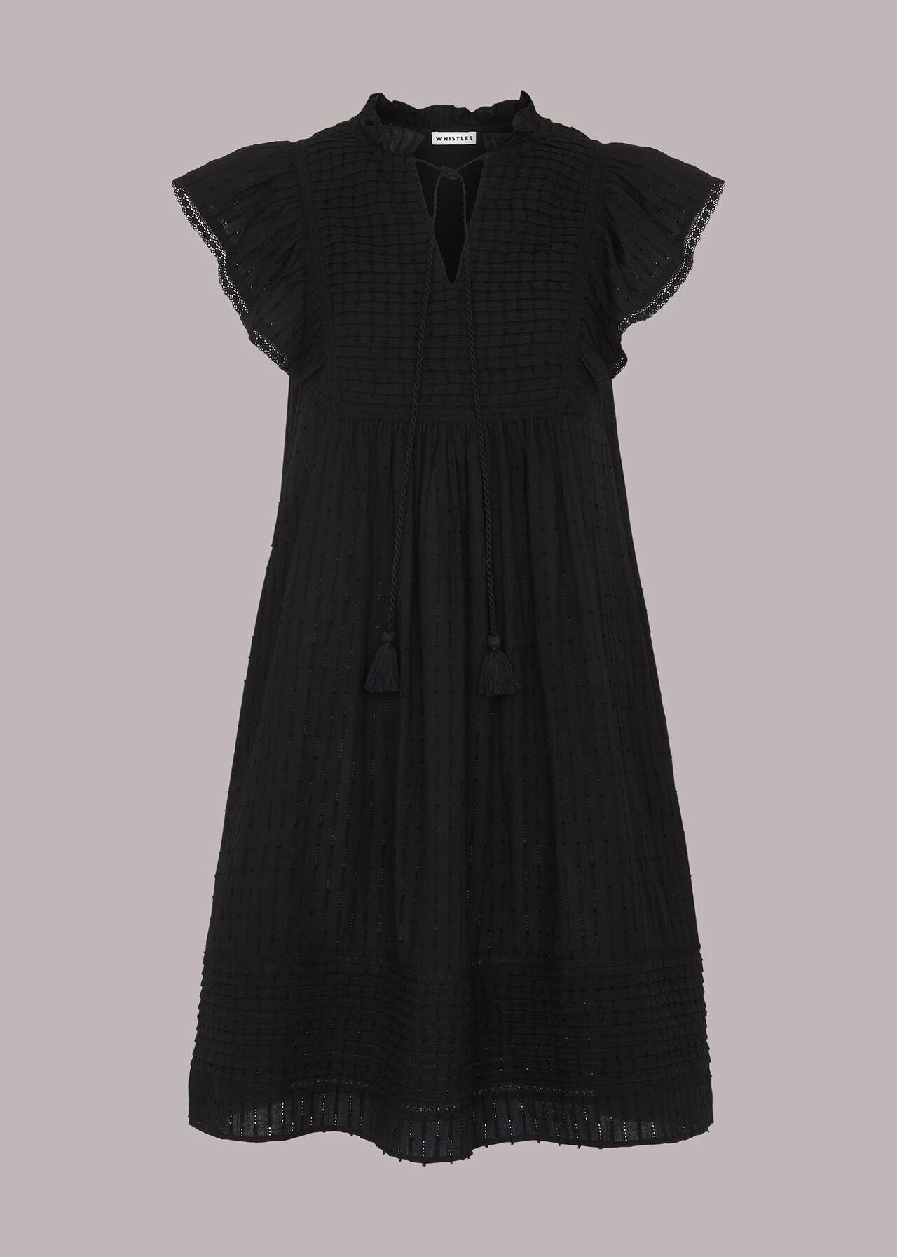 Pintuck Frill Cotton Dress Black