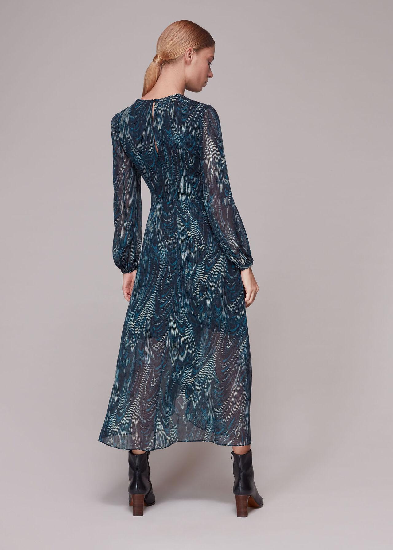 Wave Print Ruched Dress