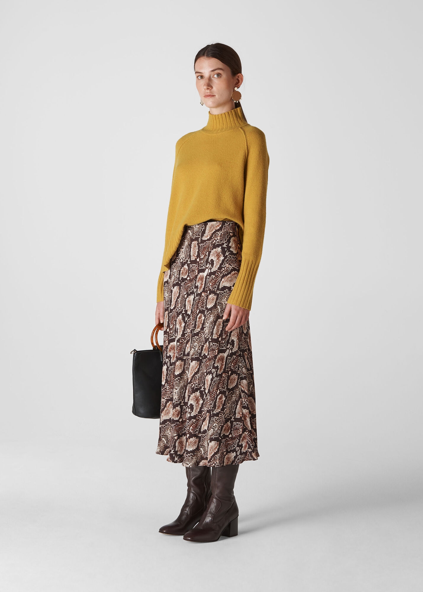 Snake Print Bias Cut Skirt