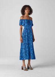 Bardot Snake Print Silk Dress Blue/Multi