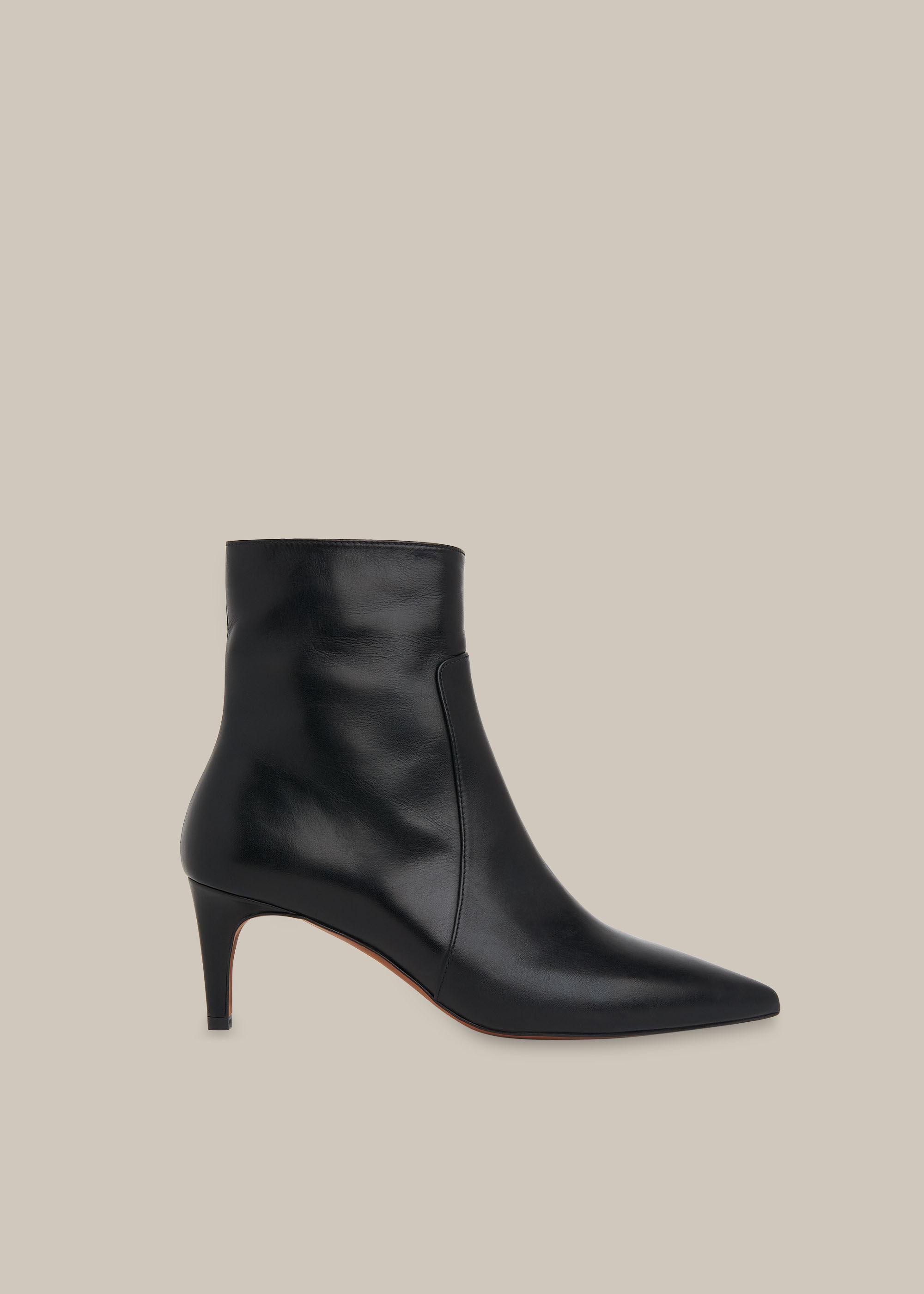 Black Celia Kitten Heel Boot   WHISTLES