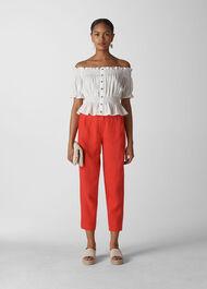 Barrel Leg Linen Trouser Red