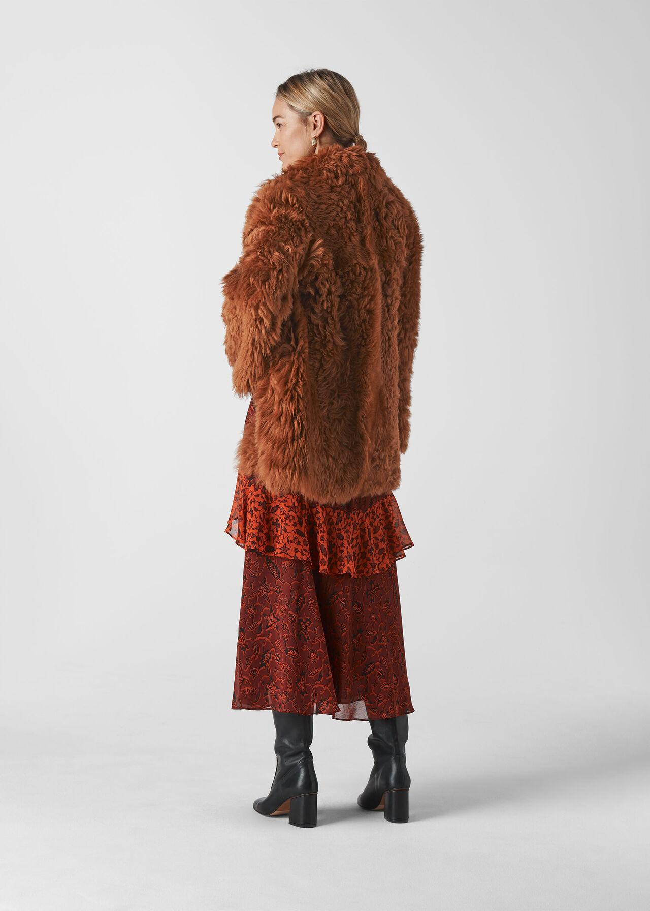 Eliza Short Sheepskin Coat Tan