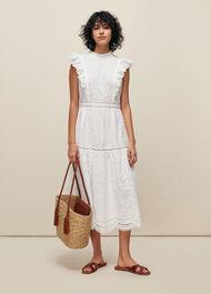 Broderie Frill Sleeve Dress White