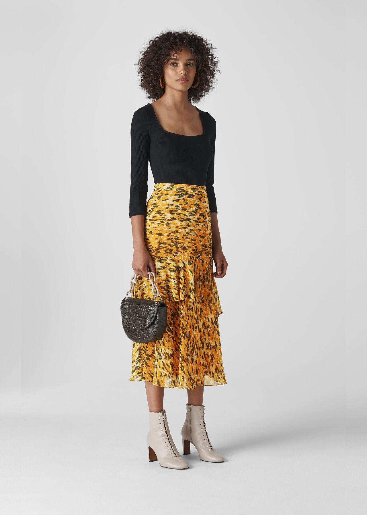 fashion sale uk wide varieties Yellow/Multi Ikat Animal Midi Skirt | WHISTLES | Whistles