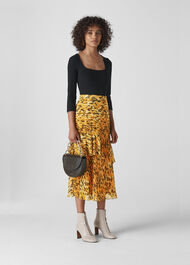 Ikat Animal Midi Skirt Yellow/Multi