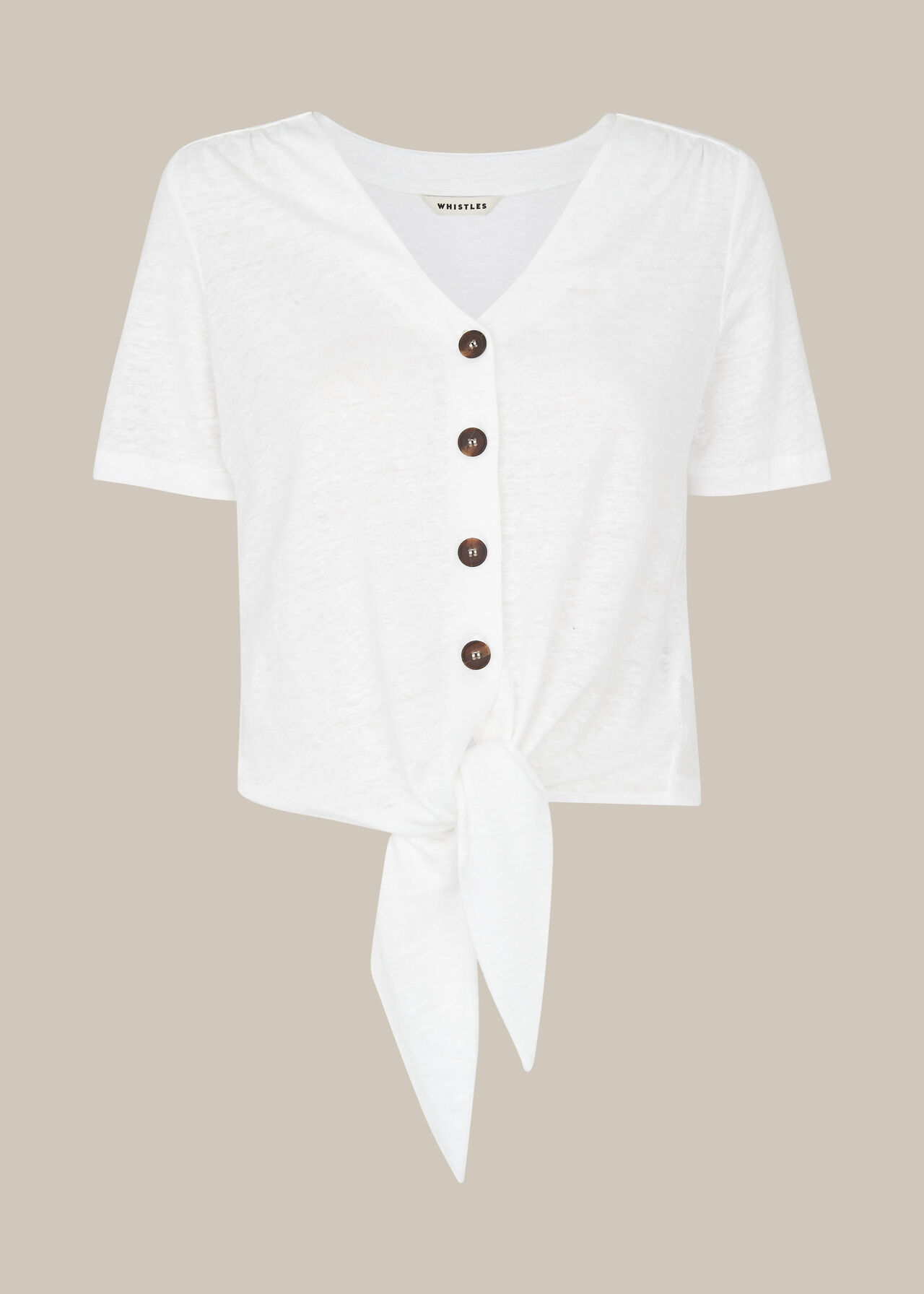 Linen Button Front Tie Top