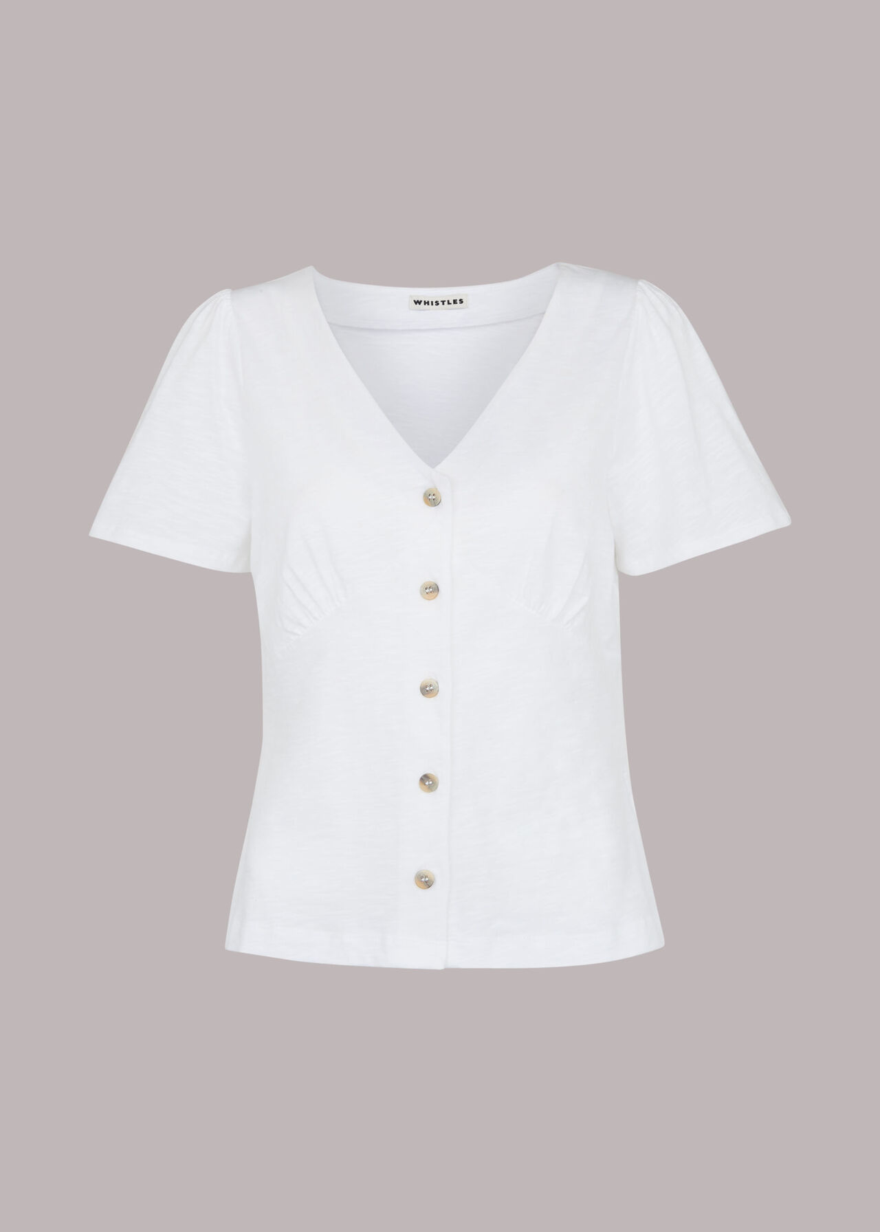 Button Front Frill Top White