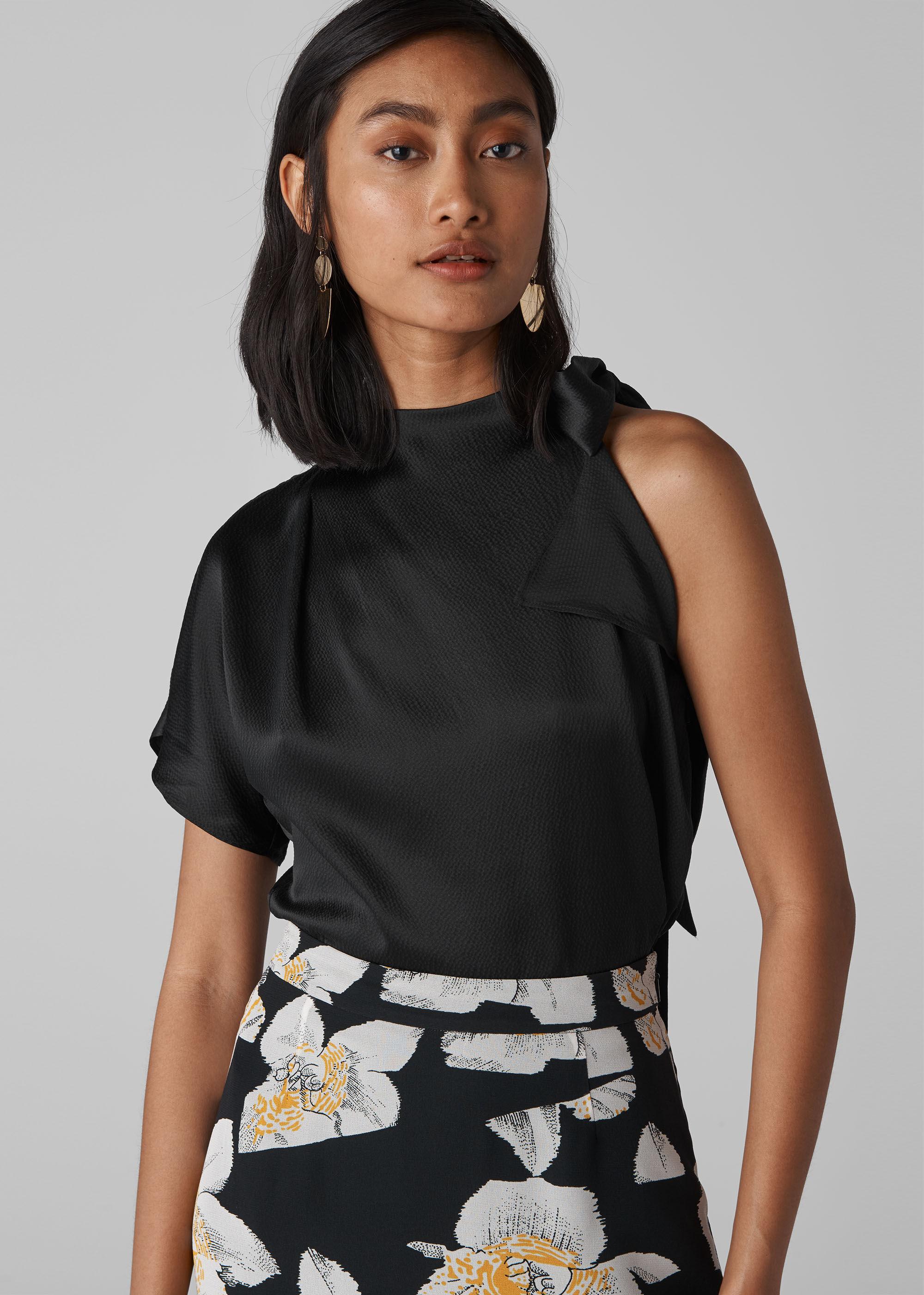 Whistles Women Emi Silk One Shoulder Top