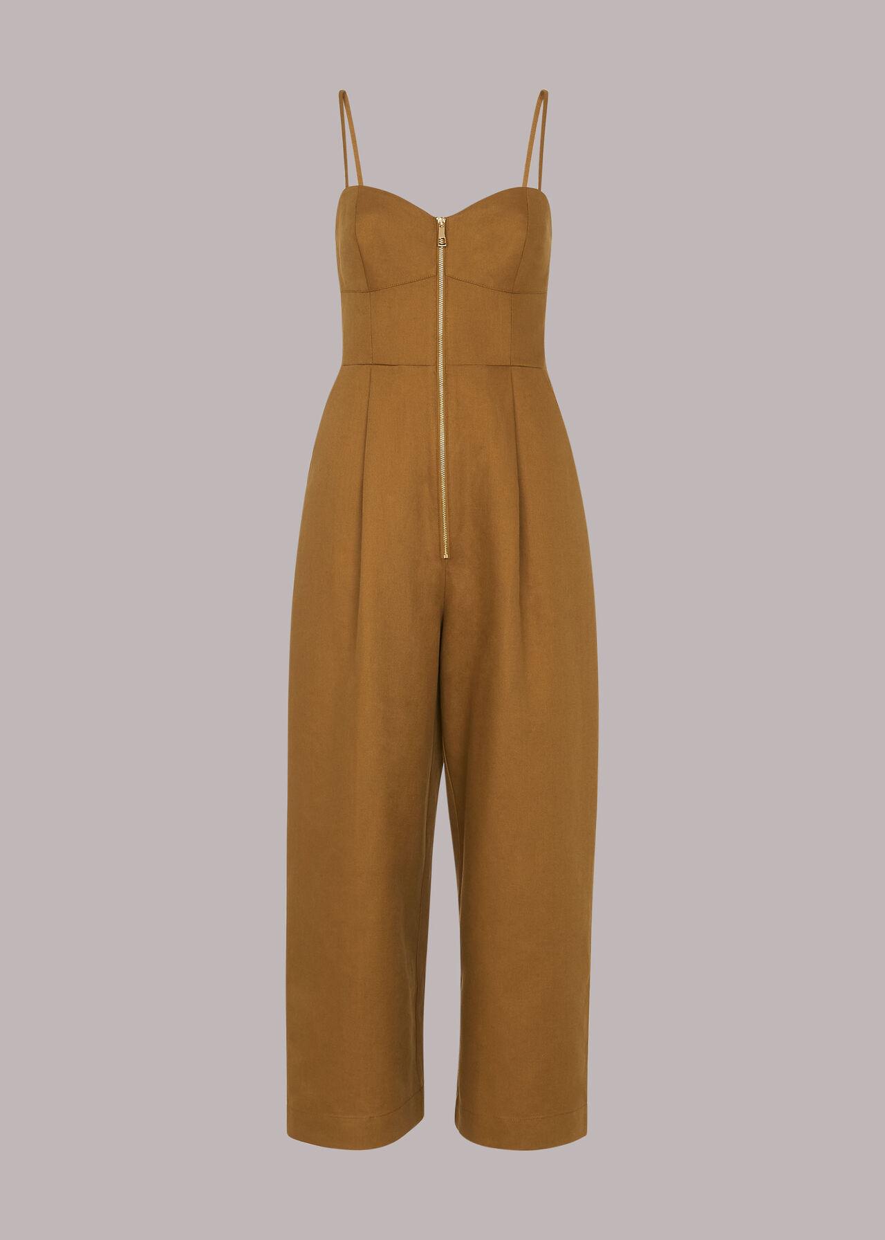 Zip Detail Linen Jumpsuit
