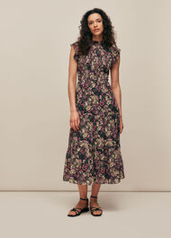 Batik Print Silk Smock Dress