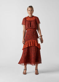 Batik Leaf Arianna Dress Red/Multi