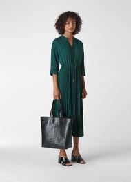 Wendy Pleat Shirt Dress Dark Green