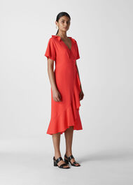 Abigail Frill Wrap Dress Coral/Multi