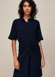 Dolly Tie Front Dress Navy