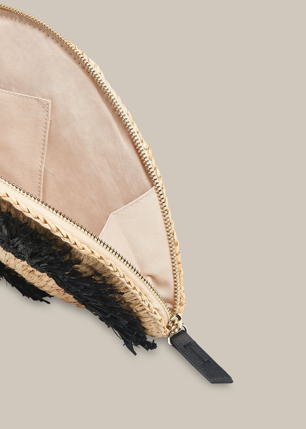 Santino Fringe Straw Clutch Black/Multi