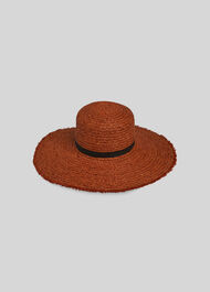 Frayed Wide Brim Sun Hat Rust