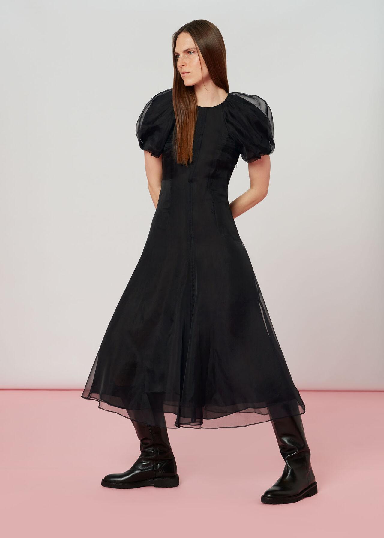 Organza Puff Sleeve Dress