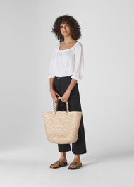 Linen Square Neck Top White