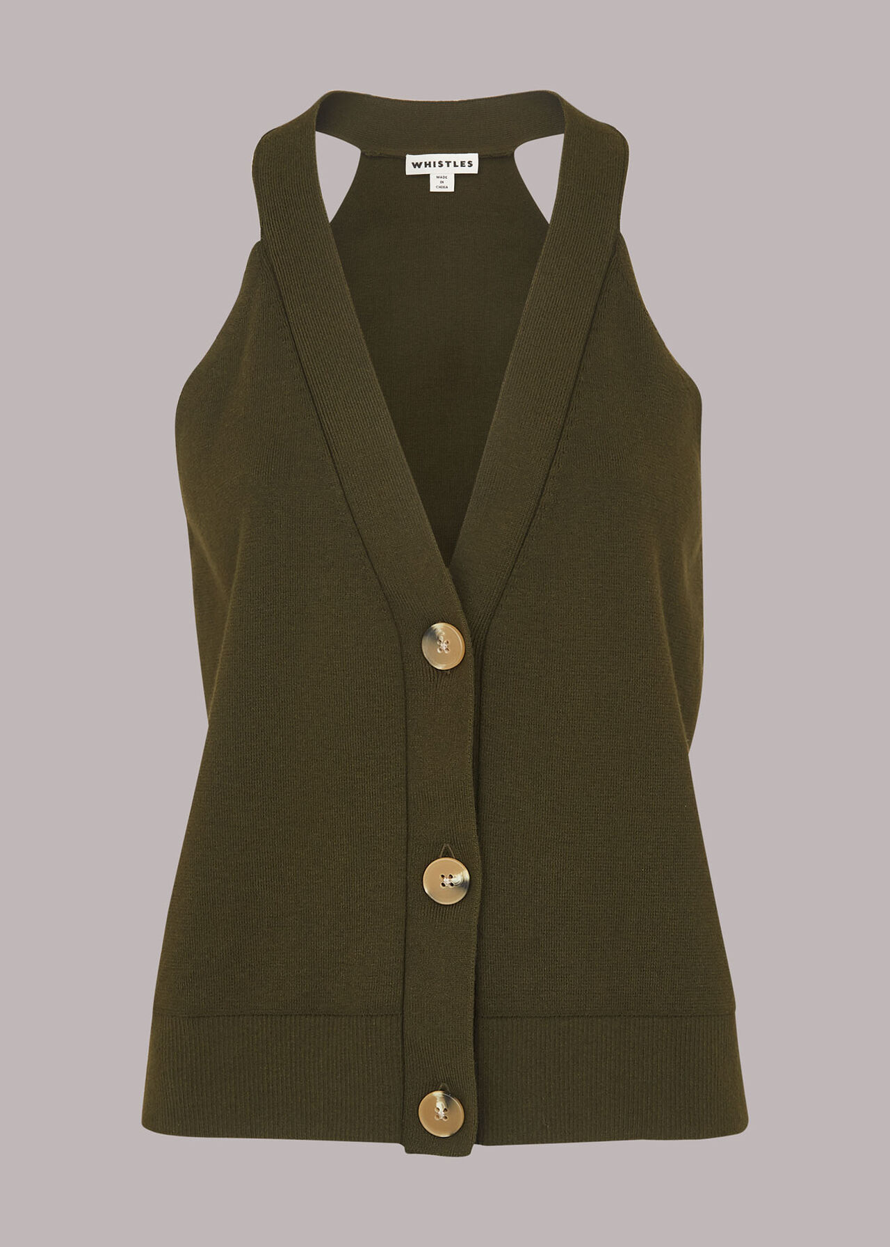 Knitted Button Through Vest