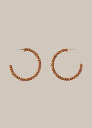 Large Wooden Bead Hoop Earring Brown