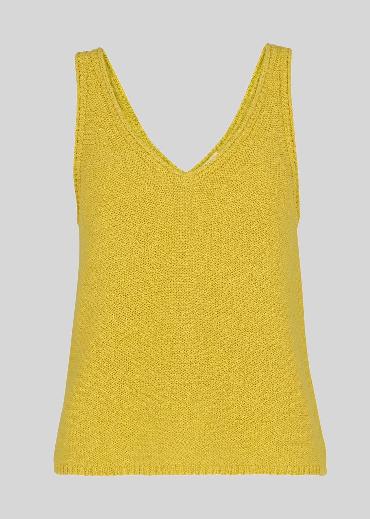 V Neck Knitted Vest Yellow
