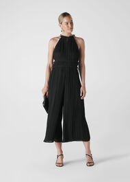 Plisse Pleated Jumpsuit Black