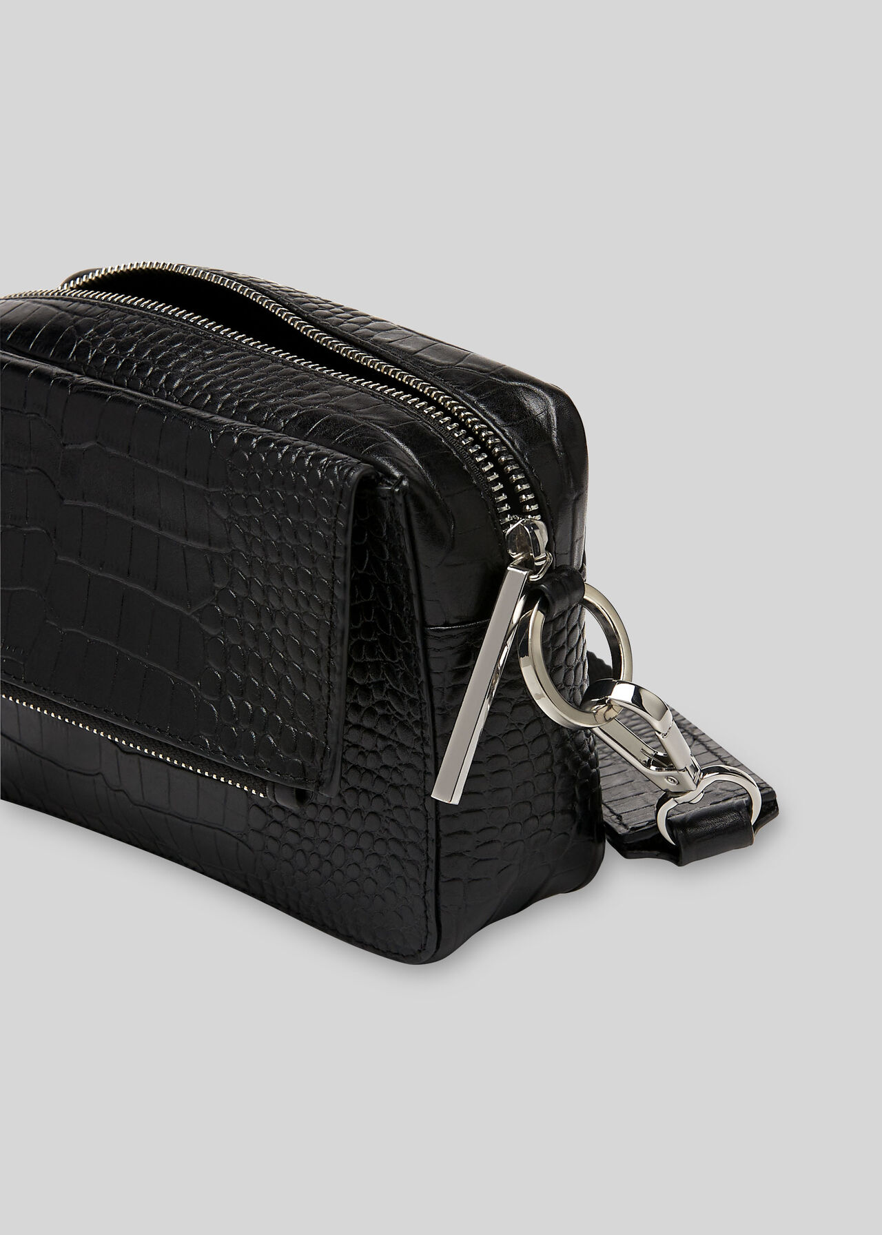 Millie Croc Crossbody Bag Black