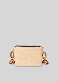 Bay Mini Croc Cube Bag Beige
