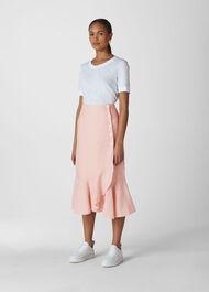 Linen Button Frill Skirt Pale Pink