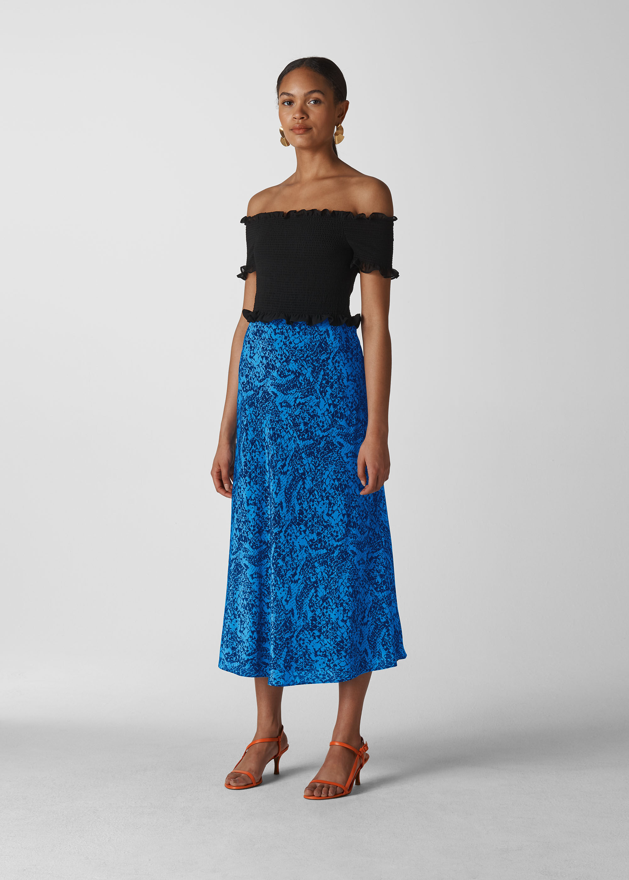 Whistles Women Snake Print Silk Skirt