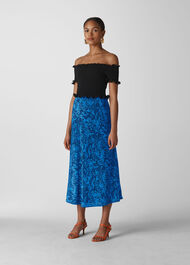 Snake Print Silk Skirt Blue/Multi