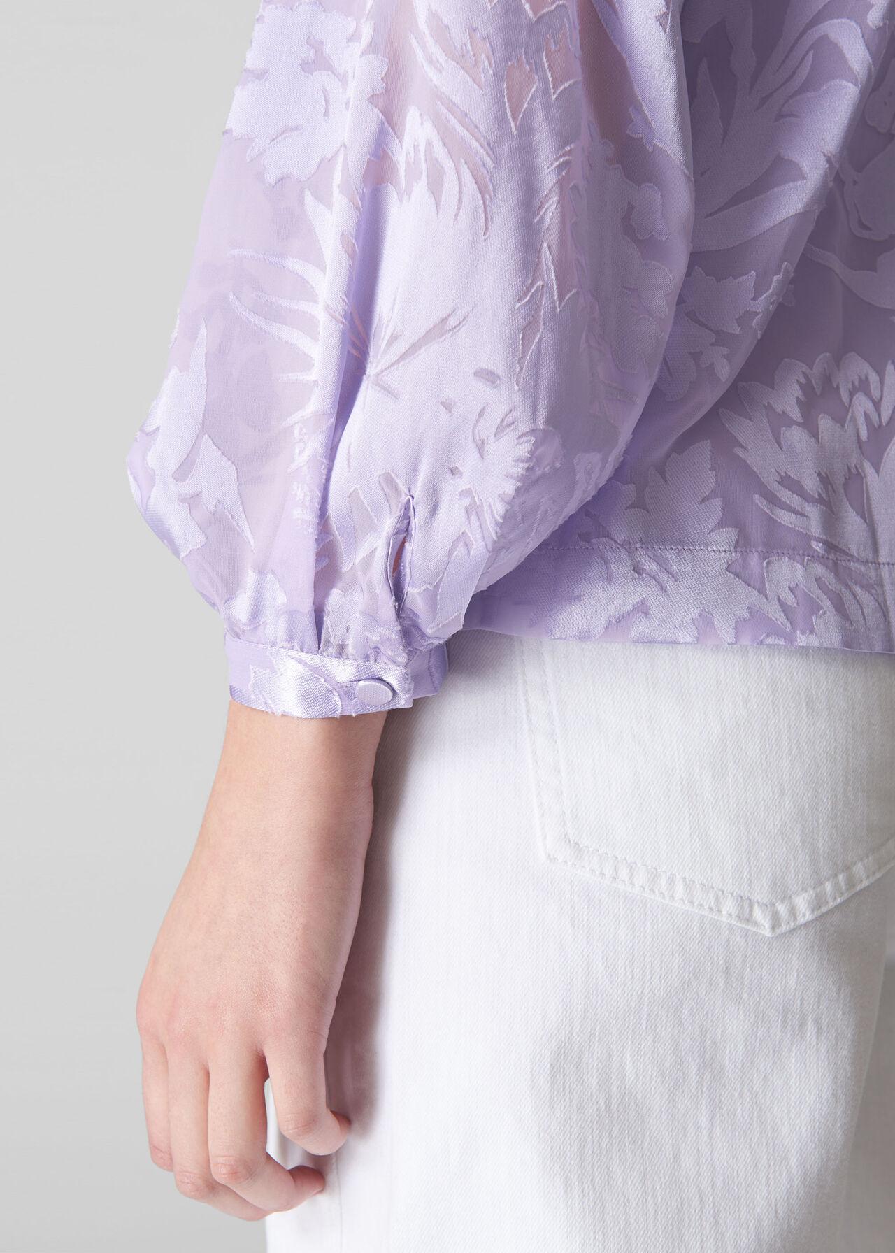 Satin Devore Button Blouse Lilac