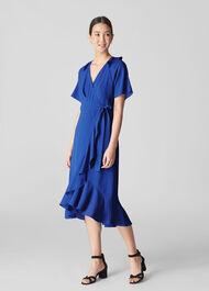 Abigail Frill Wrap Midi Dress