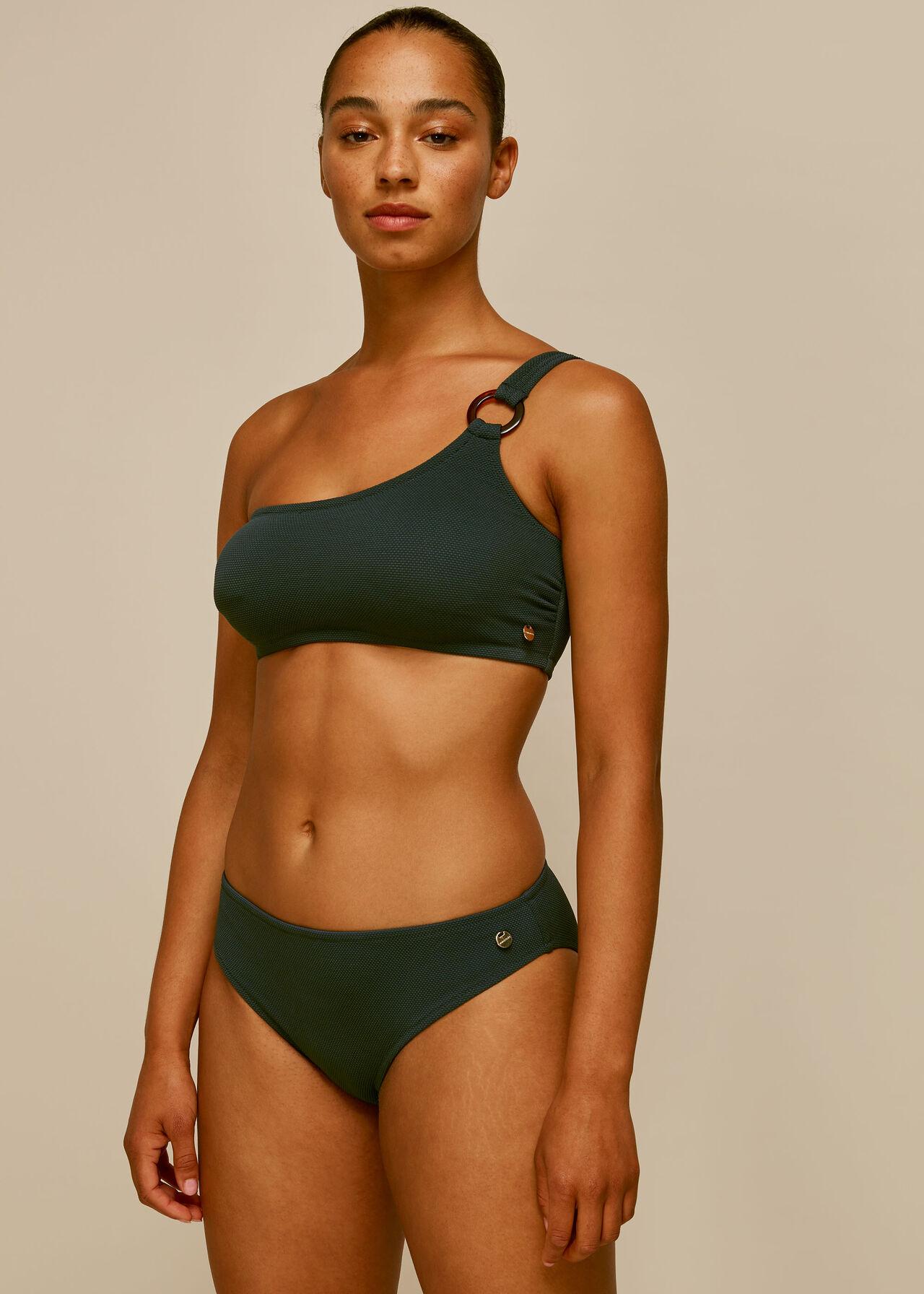Textured Tort Ring Bikini Top Dark Green