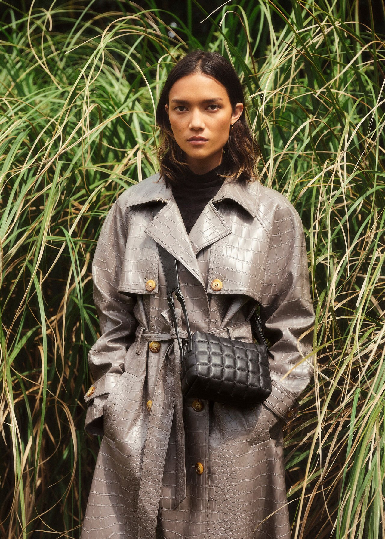 Croc Belted Trench Coat