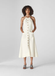 Ada Halterneck Linen Dress Ivory/Multi