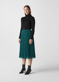 Sparkle Pleated Skirt Green